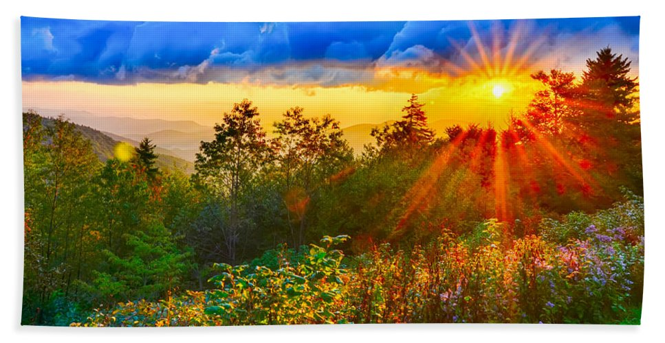 Autumn Hand Towel featuring the photograph Blue Ridge Parkway Late Summer Appalachian Mountains Sunset West by Alex Grichenko