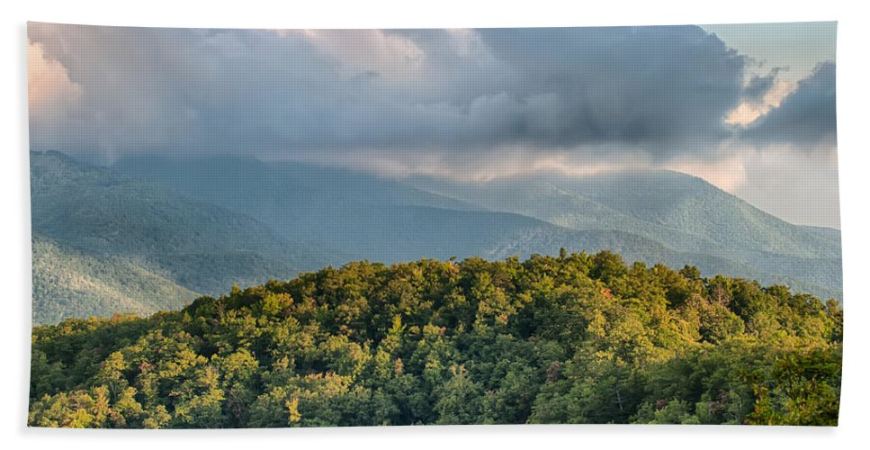 Mountains Hand Towel featuring the photograph Blue Ridge Parkway Scenic Mountains Overlook Summer Landscape by Alex Grichenko