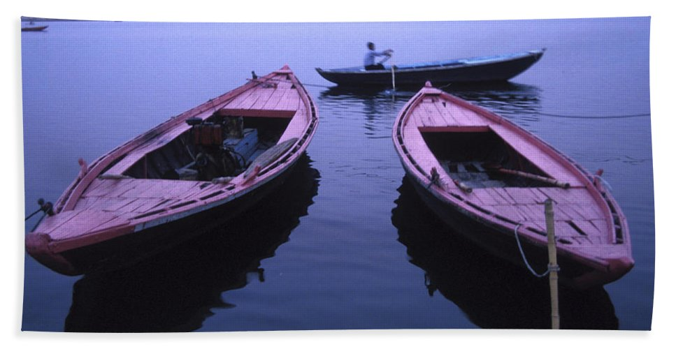 Ancient Bath Sheet featuring the photograph Boats On The Ganges River by Scott Warren