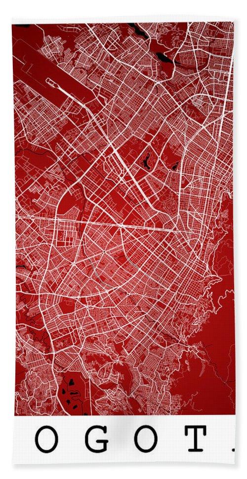 Road Map Hand Towel featuring the digital art Bogota Street Map - Bogota Colombia Road Map Art On Colored Back by Jurq Studio
