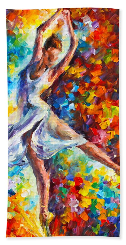 Ballet Bath Towel featuring the painting Candle Fire by Leonid Afremov