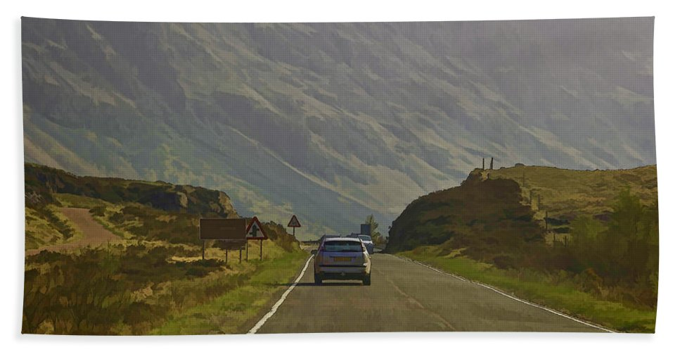 2 Lane Highway Bath Sheet featuring the photograph Cars And Other Vehicles On A Road In The Scottish Highlands by Ashish Agarwal