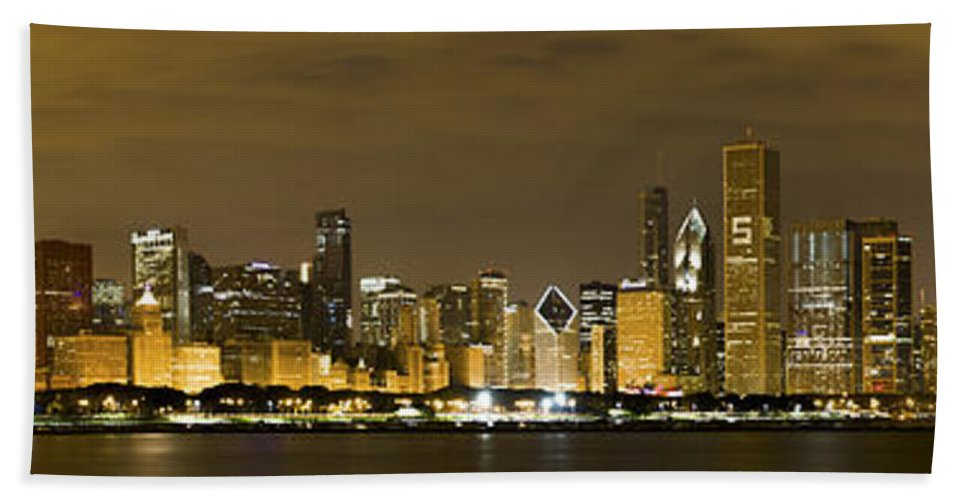 Chicago Skyline Bath Sheet featuring the photograph Chicago Skyline At Night by Sebastian Musial