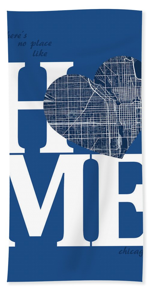 Road Map Hand Towel featuring the digital art Chicago Street Map Home Heart - Chicago Illinois Road Map In A H by Jurq Studio