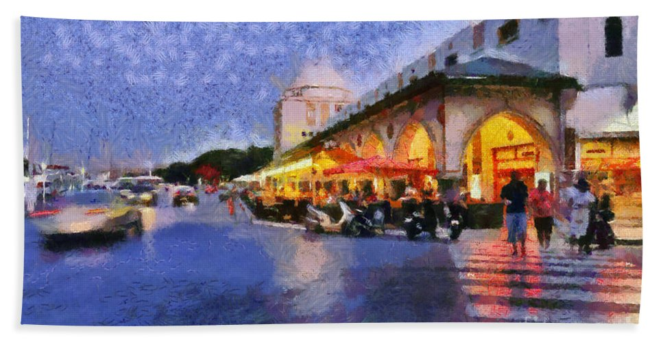 Rhodes Hand Towel featuring the painting City Of Rhodes During Dusk Time by George Atsametakis