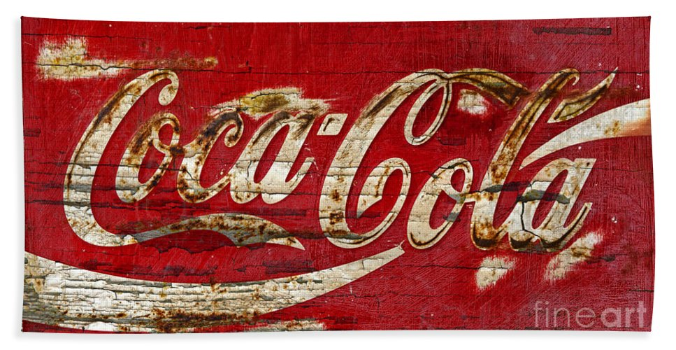 Coca Cola Hand Towel featuring the photograph Coca Cola Sign Cracked Paint by John Stephens