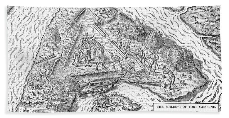 1564 Hand Towel featuring the photograph Fort Caroline, 1564 by Granger