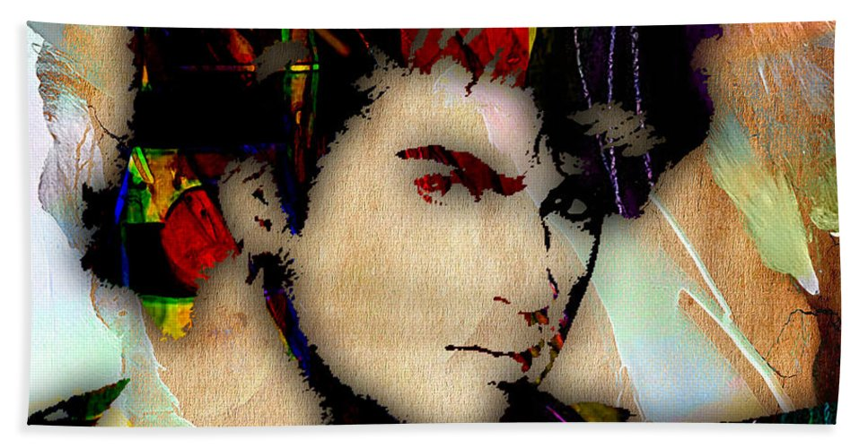 George Michael Hand Towel featuring the mixed media George Michael Collection by Marvin Blaine