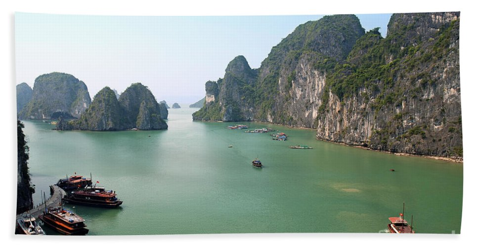 Asia Hand Towel featuring the photograph Halong Bay In Vietnam by Jacek Malipan