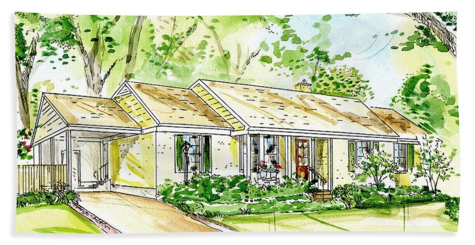 Cujstome Art Bath Sheet featuring the mixed media House Rendering by Lizi Beard-Ward