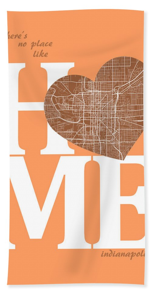 Road Map Hand Towel featuring the digital art Indianapolis Street Map Home Heart - Indianapolis Indiana Road M by Jurq Studio