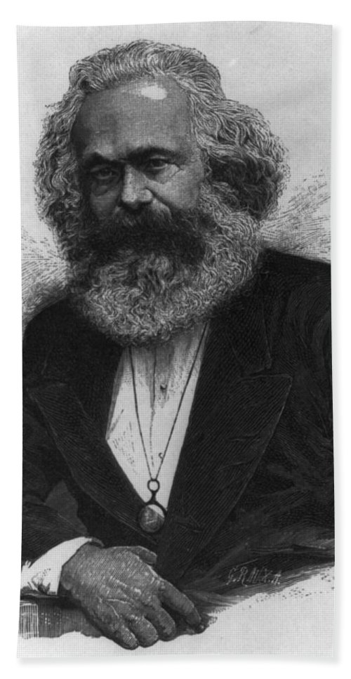 Karl Marx Hand Towel featuring the digital art Karl Marx by Unknown