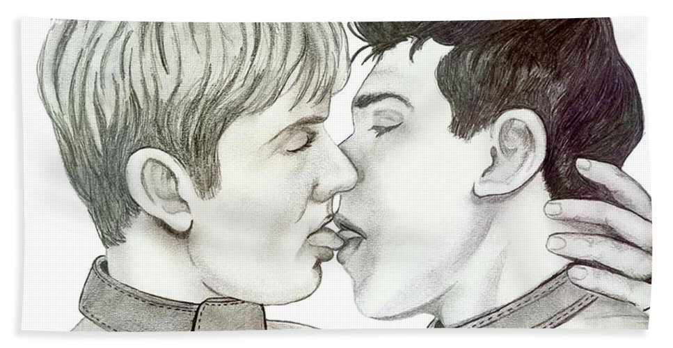 Erotic Hand Towel featuring the drawing Kiss by Anthony Seeker