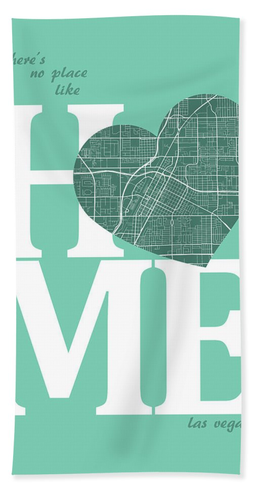 Road Map Hand Towel featuring the digital art Las Vegas Street Map Home Heart - Las Vegas Nevada Road Map In A by Jurq Studio