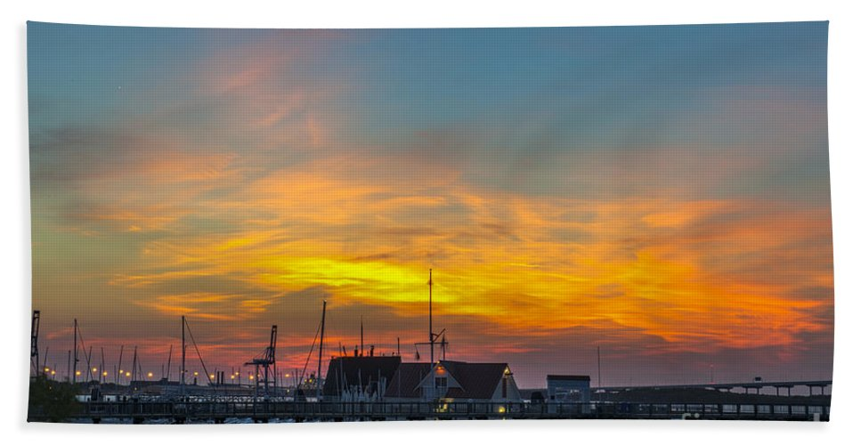 Sunset Bath Sheet featuring the photograph Harbor Lowcountry Sunset by Dale Powell