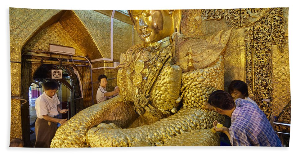 Myanmar Bath Sheet featuring the photograph 4 M Tall Sitting Buddha With Thick Layer Of Golden Leaves In Mahamuni Pagoda Mandalay Myanmar by Juergen Ritterbach