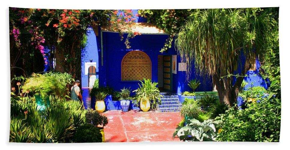 Majorelle Garden Hand Towel featuring the photograph Majorelle Garden Marrakesh Morocco by Ralph A Ledergerber-Photography