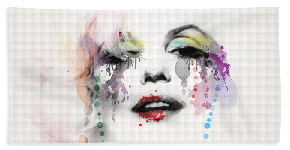 Pop Art Hand Towel featuring the painting Marilyn Monroe by Mark Ashkenazi