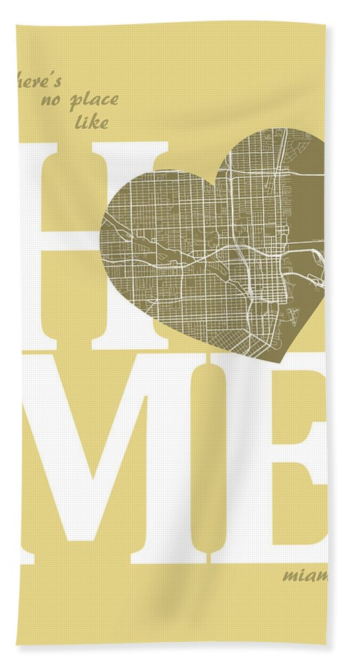 Road Map Hand Towel featuring the digital art Miami Street Map Home Heart - Miami Florida Road Map In A Heart by Jurq Studio