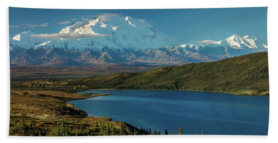 Photography Bath Sheet featuring the photograph Mount Denali, Previously Known by Panoramic Images
