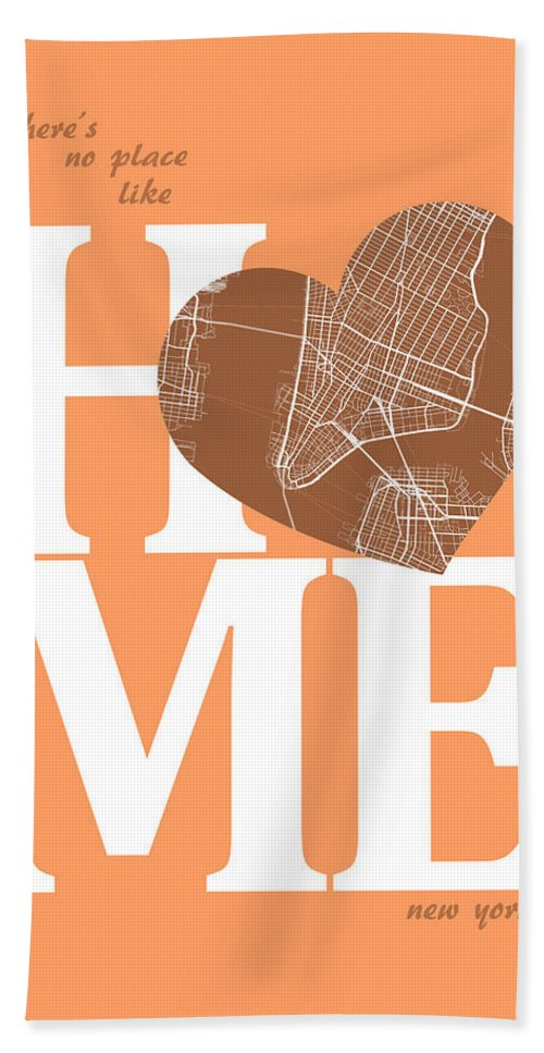 Road Map Hand Towel featuring the digital art New York Map Home Heart - New York City New Yorkroad Map In A He by Jurq Studio