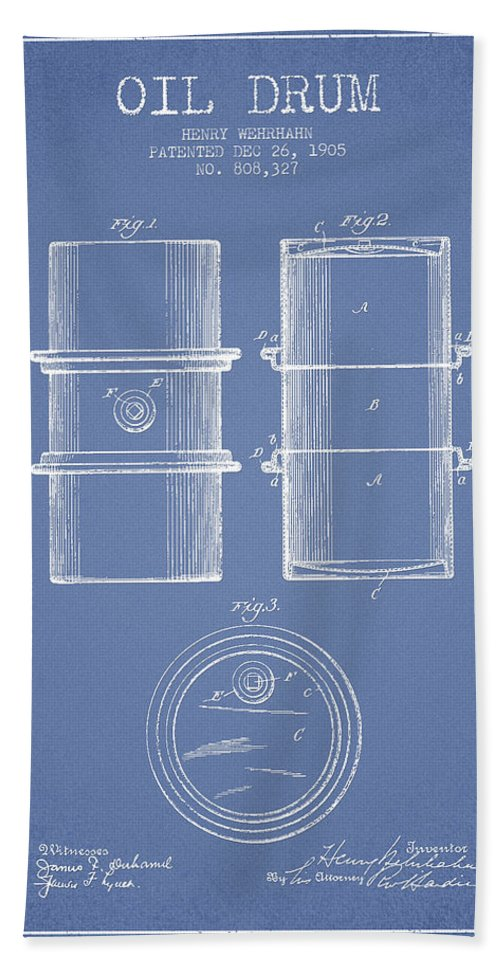 Oil Hand Towel featuring the digital art Oil Drum Patent Drawing From 1905 by Aged Pixel