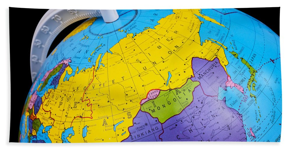 Old rotating world map globe bath towel for sale by donald erickson globe bath towel featuring the photograph old rotating world map globe by donald erickson gumiabroncs Image collections