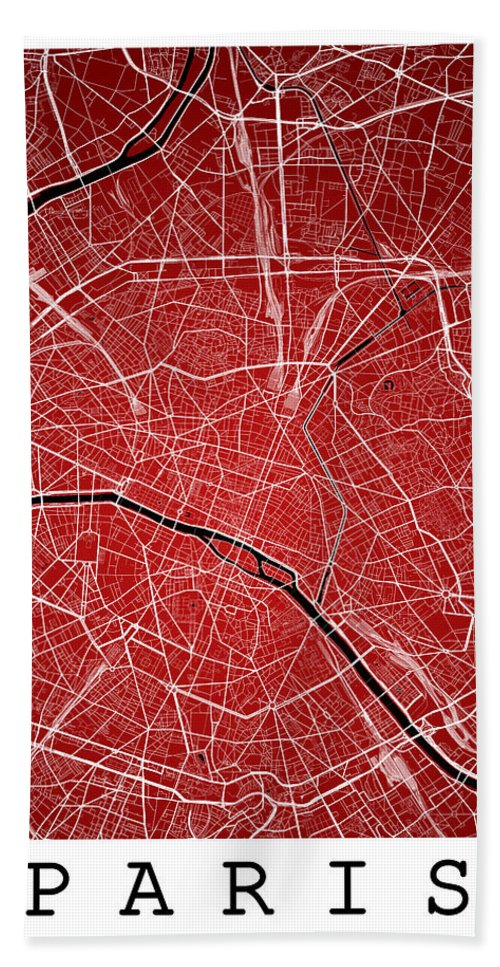 Road Map Hand Towel featuring the digital art Paris Street Map - Paris France Road Map Art On Colored Backgrou by Jurq Studio
