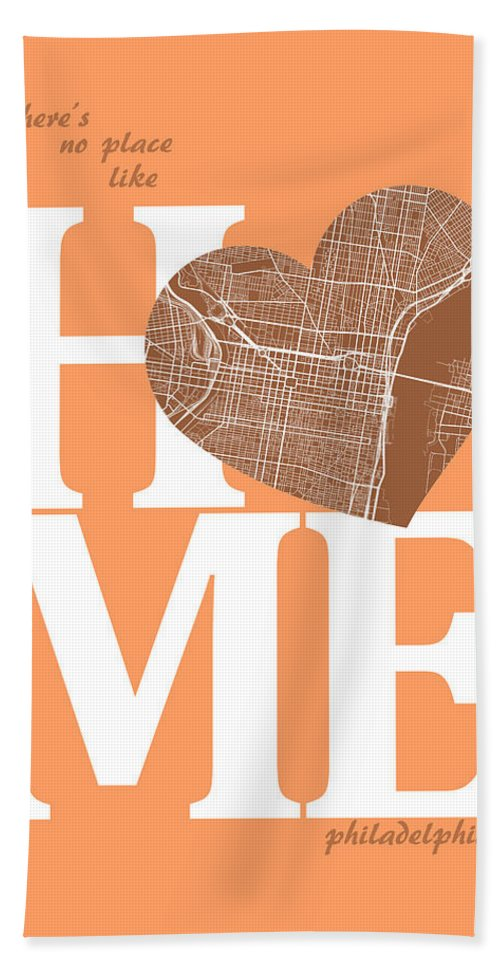 Road Map Hand Towel featuring the digital art Philadelphia Street Map Home Heart - Philadelphia Pennsylvania R by Jurq Studio