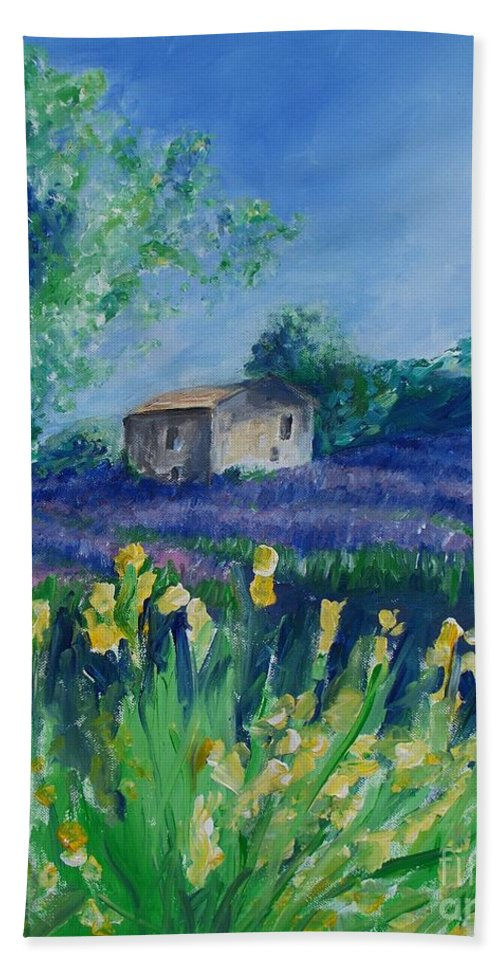 Provence Bath Sheet featuring the painting Provence Lavender Field by Eric Schiabor