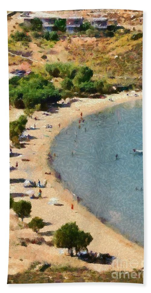 Serifos; Psili Ammos; Beach; Greece; Hellas; Greek; Cyclades; Kyklades; Aegean; Islands; Sand; Island; Sea; People; Tourists; Swimming; Swim; Sunbathing; Suntanning; Relaxing; Relaxation; Holidays; Vacation; Travel; Trip; Voyage; Journey; Tourism; Touristic; Summer; Clear Water Hand Towel featuring the painting Psili Ammos Beach In Serifos Island by George Atsametakis