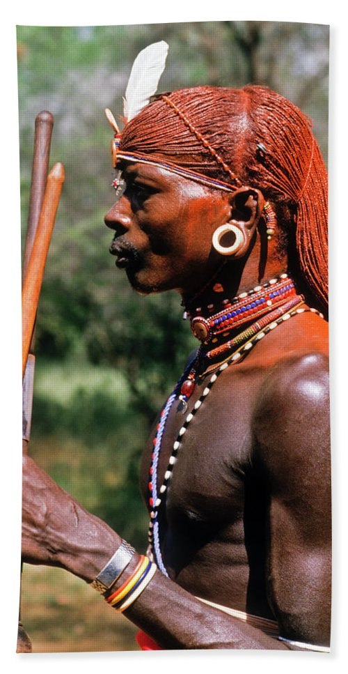 Africa Bath Sheet featuring the photograph Samburu Warrior by Michele Burgess