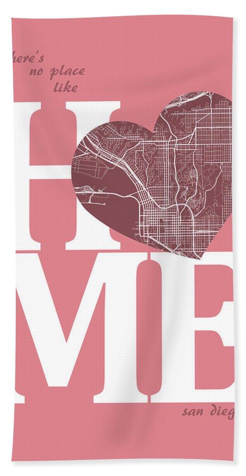 Road Map Hand Towel featuring the digital art San Diego Street Map Home Heart - San Diego California Road Map by Jurq Studio