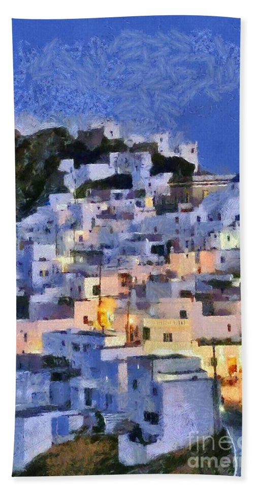 Serifos; Chora; Hora; Village; Town; Greece; Hellas; Greek; Cyclades; Kyklades; Aegean; Islands; Dusk; Twilight; Island; Night; Lights; Holidays; Vacation; Travel; Trip; Voyage; Journey; Tourism; Touristic; Summer; Blue Sky; White; House; Houses; Paint; Painting; Paintings Bath Towel featuring the painting Serifos Town During Dusk Time by George Atsametakis