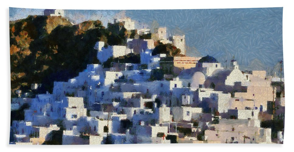 Serifos; Chora; Hora; Village; Town; Greece; Hellas; Greek; Cyclades; Kyklades; Aegean; Islands; Afternoon Light; Island; Holidays; Vacation; Travel; Trip; Voyage; Journey; Tourism; Touristic; Summer; Blue Sky; White; House; Houses; Paint; Painting; Paintings Hand Towel featuring the painting Serifos Town by George Atsametakis