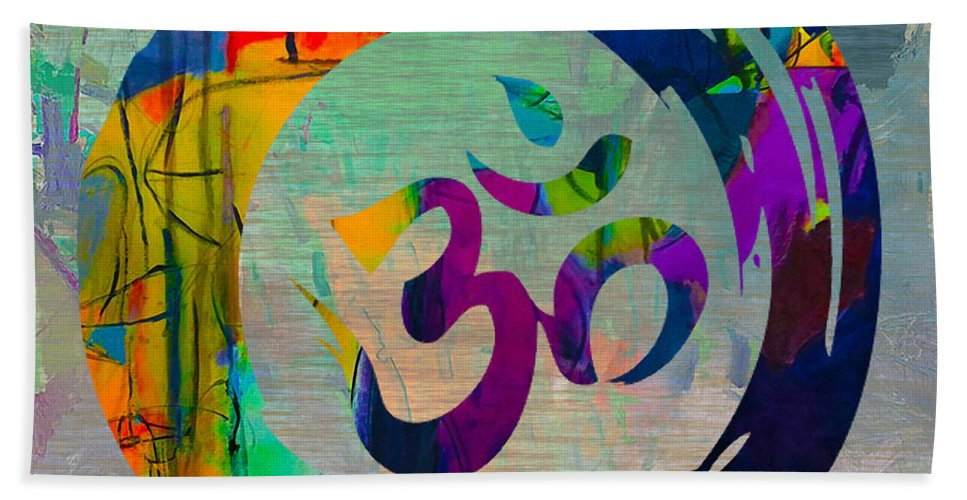 Namaste Paintings Hand Towel featuring the mixed media Stream Of Inspiration by Marvin Blaine