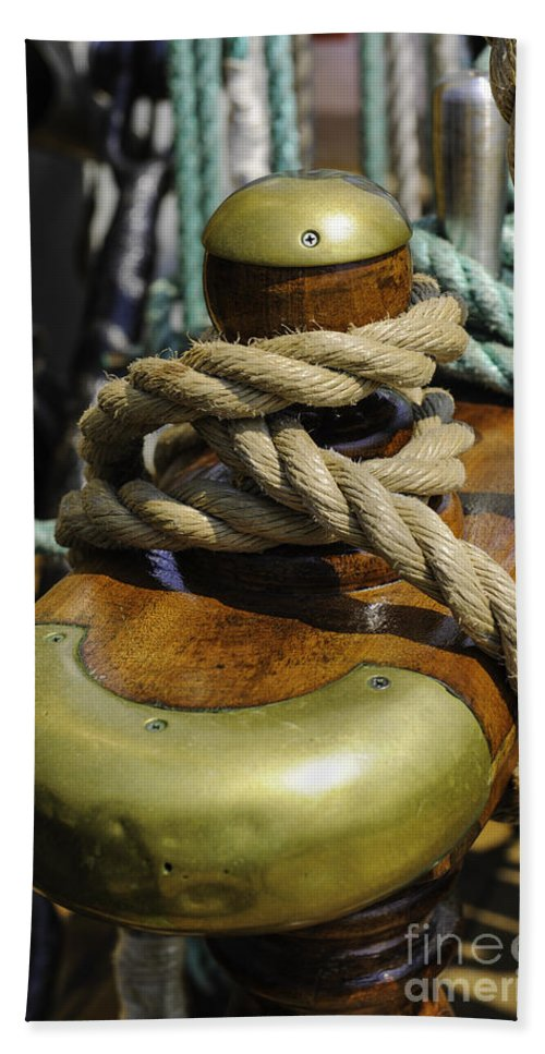 Tall Ship Hand Towel featuring the photograph Tall Ship Rigging Vertical by Dale Powell
