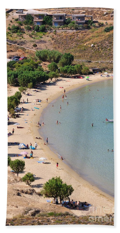 Serifos; Psili Ammos; Beach; Greece; Greek; Hellas; Cyclades; Island; Kyklades; Aegean; Islands; Sand; Sea; People; Tourists; Swimming; Swim; Sunbathing; Suntanning; Relaxing; Relaxation; Holidays; Vacation; Travel; Trip; Voyage; Journey; Tourism; Touristic; Summer; Clear Water Hand Towel featuring the photograph The Famous Psili Ammos Beach by George Atsametakis