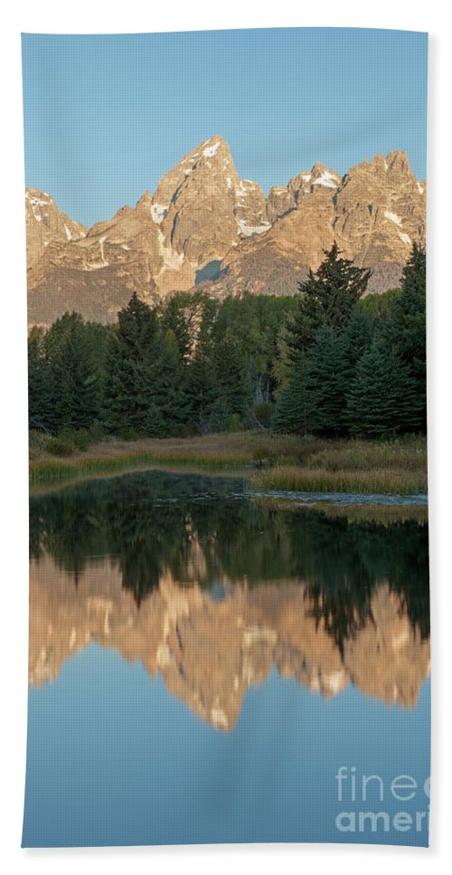 Autumn Bath Sheet featuring the photograph The Grand Tetons Schwabacher Landing Grand Teton National Park by Fred Stearns