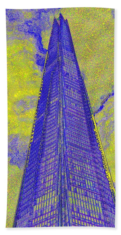 Shard Hand Towel featuring the digital art The Shard London Art by David Pyatt