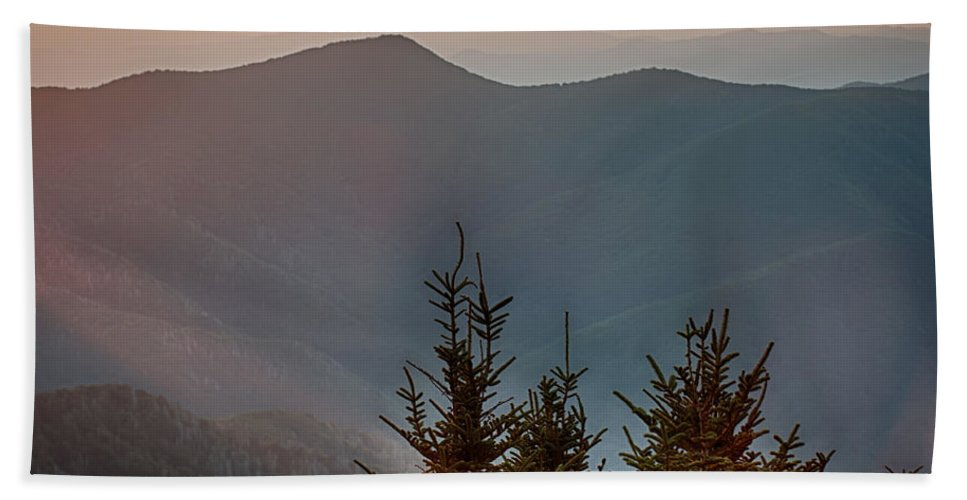Sunset Bath Sheet featuring the photograph The Simple Layers Of The Smokies At Sunset - Smoky Mountain Nat. by Alex Grichenko
