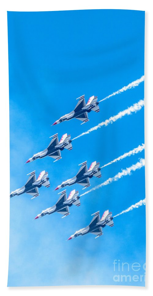 Thunderbirds Hand Towel featuring the photograph Thunderbirds And Blue Sky by Amel Dizdarevic