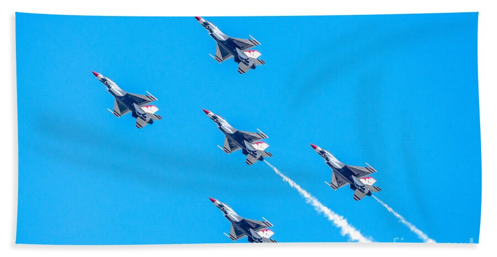 Thunderbirds Bath Sheet featuring the photograph Thunderbirds In Formation by Amel Dizdarevic