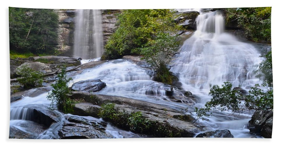 Cascading Bath Sheet featuring the photograph Twin Falls by Frozen in Time Fine Art Photography