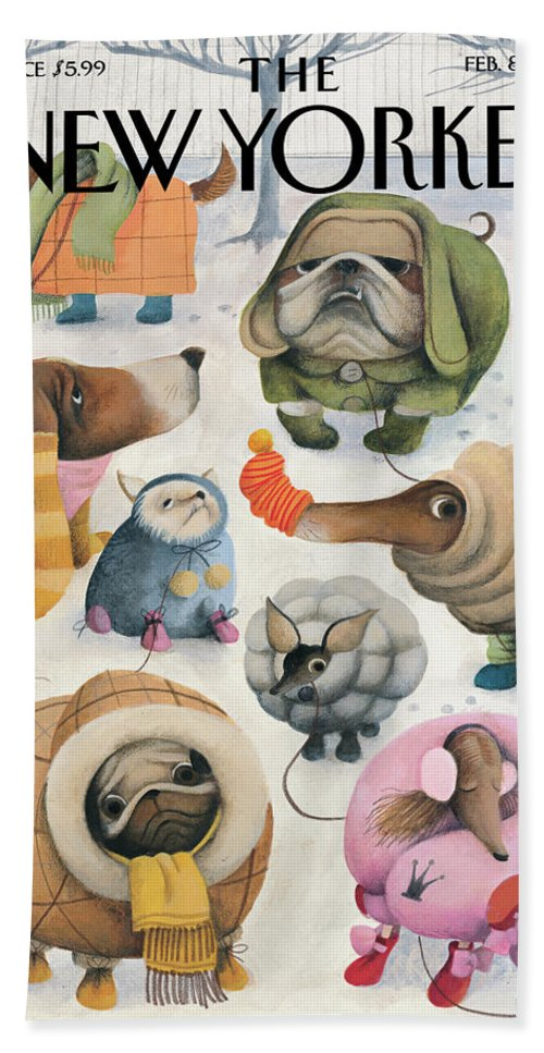 Baby It's Cold Outside Bath Towel featuring the painting Baby Its Cold Outside by Ana Juan