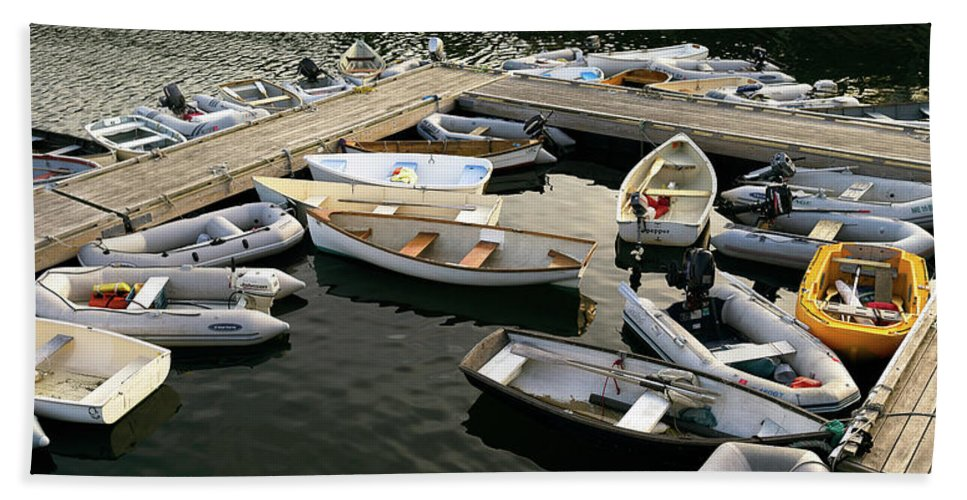 Photography Bath Sheet featuring the photograph View Of Boats At A Harbor, Rockland by Panoramic Images
