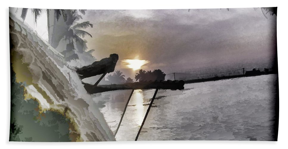 Alleppey Bath Sheet featuring the digital art View Of Sunrise From Boat by Ashish Agarwal