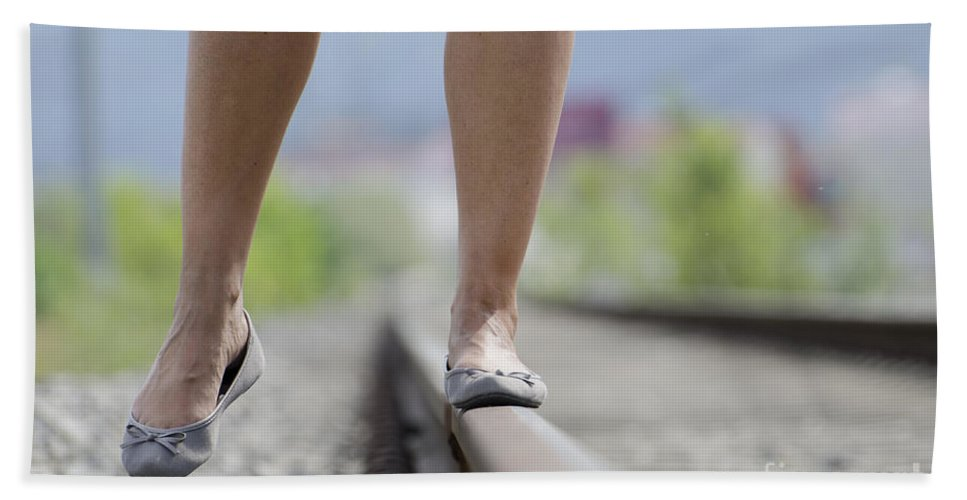 Shoes Hand Towel featuring the photograph Walking On Railroad Tracks by Mats Silvan