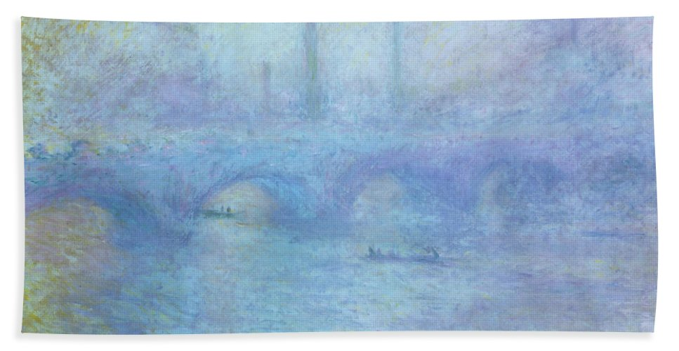 Foggy Hand Towel featuring the painting Waterloo Bridge by Claude Monet