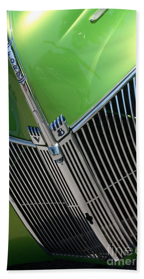 1940 Hand Towel featuring the photograph 40 Ford - Grill Detail-8633 by Gary Gingrich Galleries
